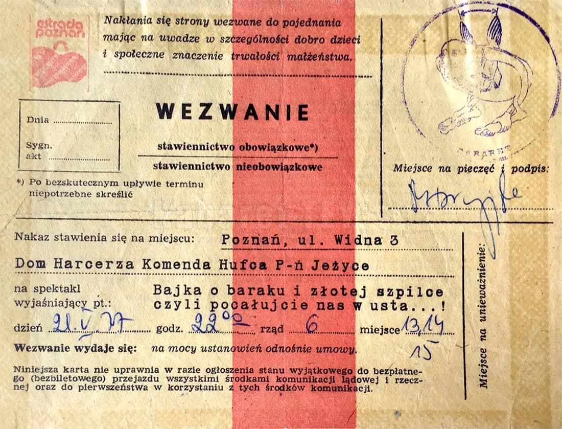 Program Bajka o baraku i złotej szpilce zaproszenie do Domu Harcerza Poznań Jerzyce ul. Widna 3