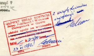 Pieczątka opole Czerwiec 1980