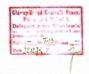 Pieczątka cenzury Wrocław Grudzień 1979