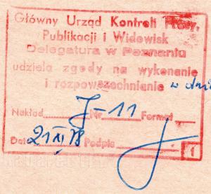 Pieczątka cenzury Poznań Listopad 1978