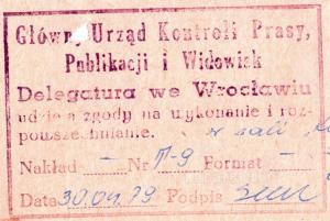 Pieczątka cenzury Wrocław Kwiecień 1979
