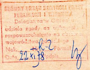 Pieczątka cenzury Gdańsk Listopad 1978