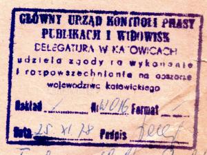 Pieczątka cenzury Katowice Listopad 1978