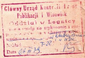 Pieczatka cenzury Legnica Marzec 1979