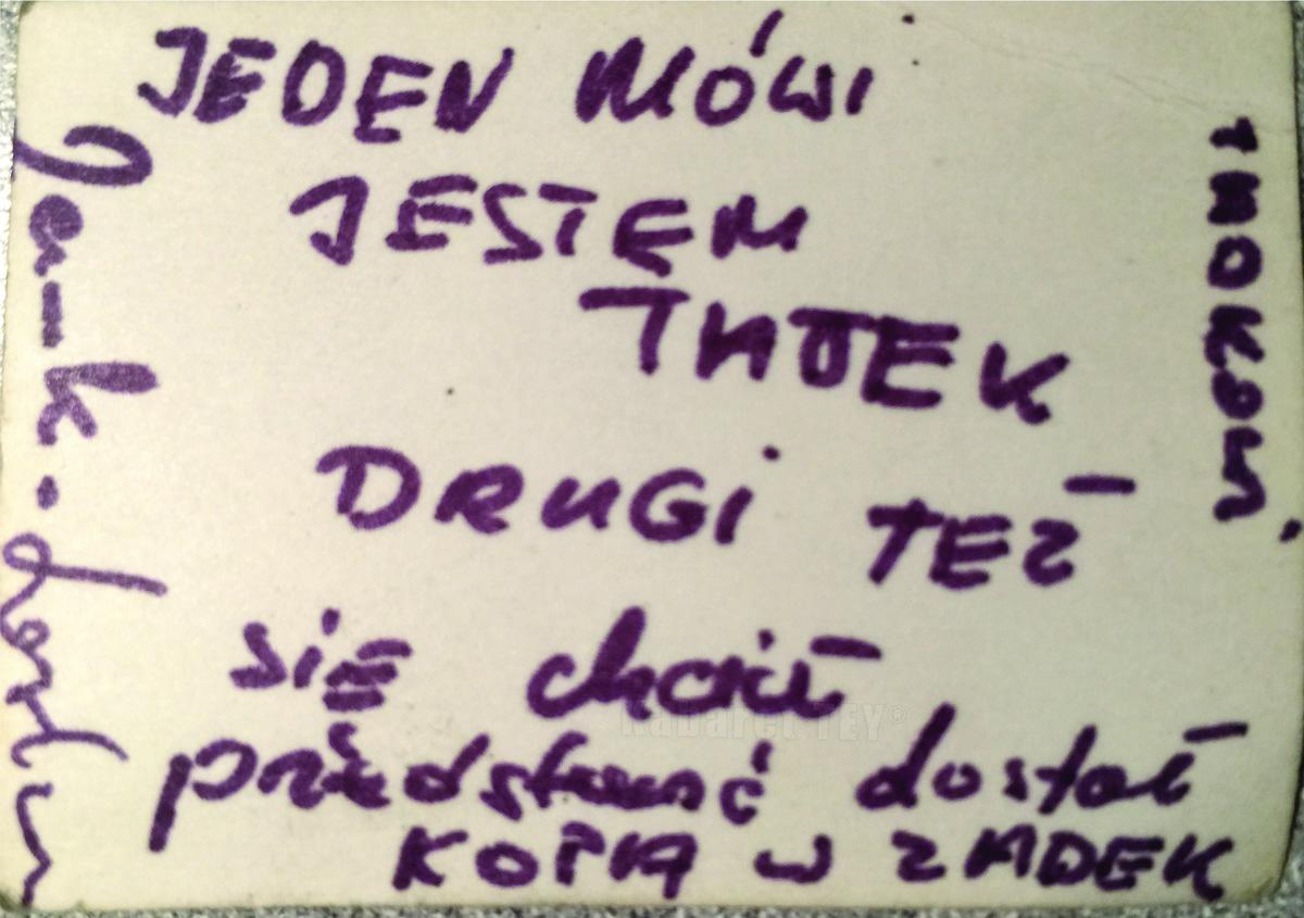 List do Tadeusza Osipowicza - Kabaret TEY®