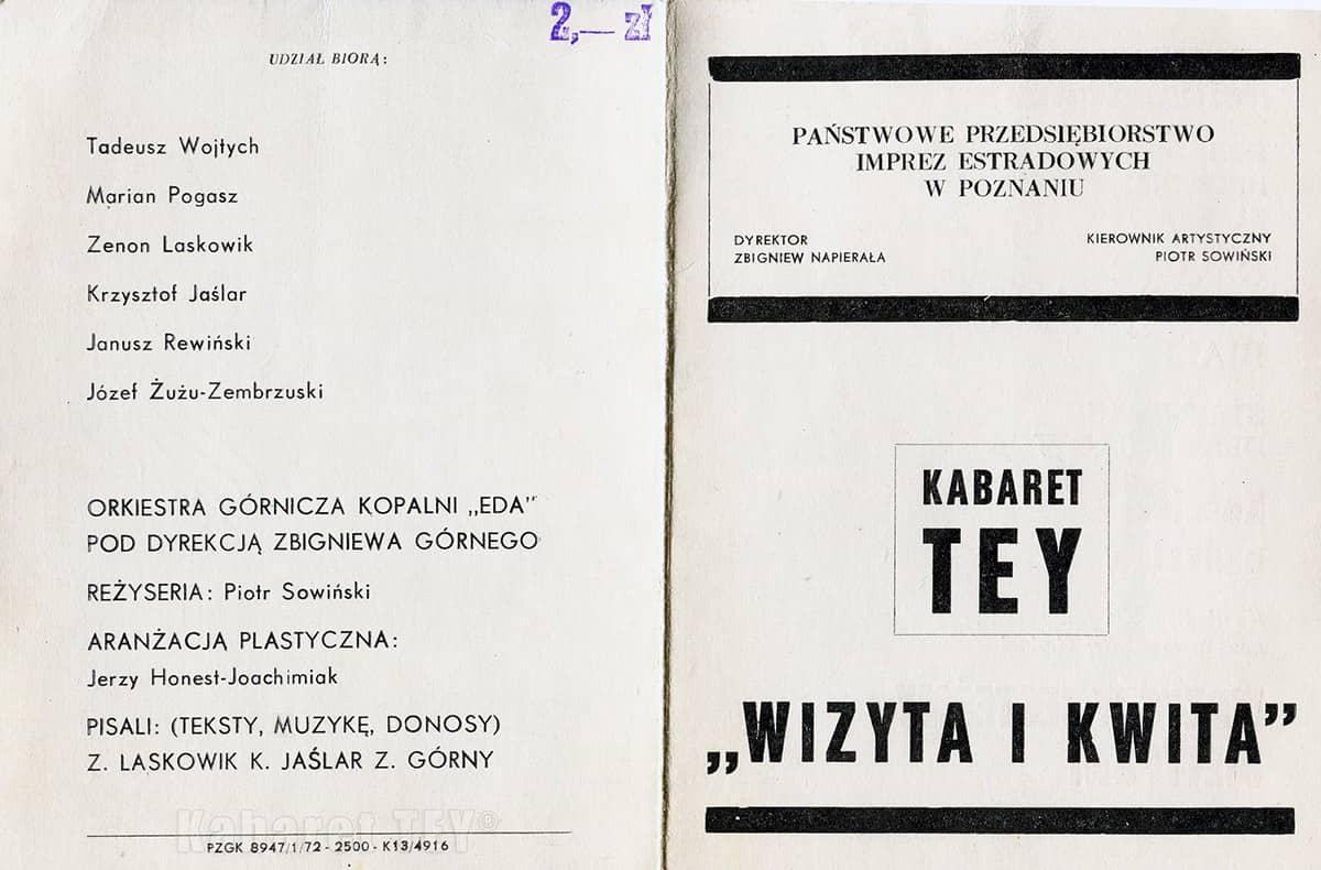 Zaproszenie na program Wizyta i Kwita Kabaret TEY® - przód