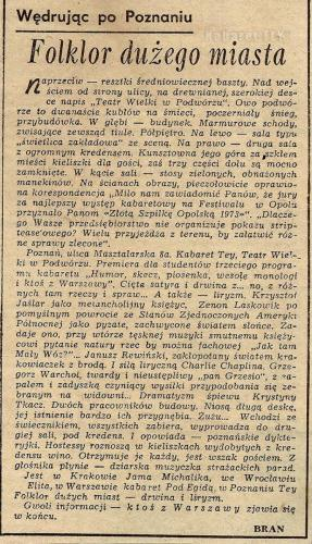 """Program """"Humor, skecz, piosenka, wesołe monologi i ktoś z Warszawy"""" - Wycinek z gazety BRAN"""