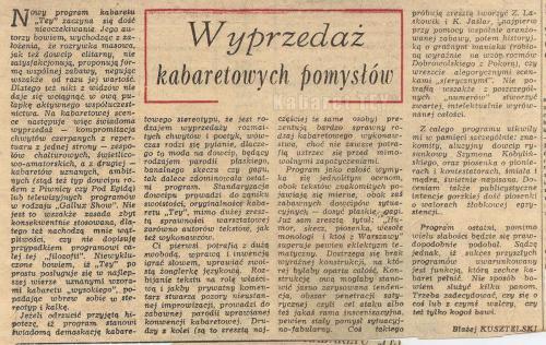 """Program """"Humor, skecz, piosenka, wesołe monologi i ktoś z Warszawy"""" Wycinek z gazety Błażej Kusztelski"""