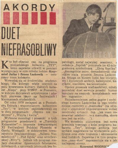 """Program """"Humor, skecz, piosenka, wesołe monologi i ktoś z Warszawy"""" - Wycinek z gazety Krzysztof Wodnicz"""