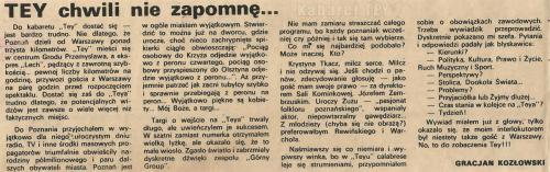 """Program """"Humor, skecz, piosenka, wesołe monologi i ktoś z Warszawy"""" - Wycinek z gazety Gracjan Kozłowski"""
