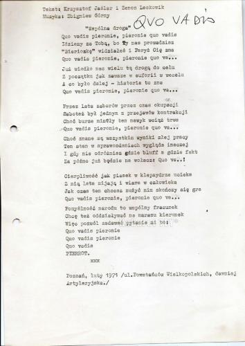 """Program """"Humor, skecz, piosenka, wesołe monologi i ktoś z Warszawy"""" - Quo Vadis Pieronie tekst 2"""