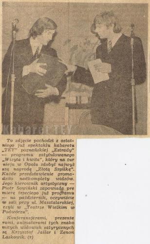 Program wizyta i kwita - Wycinek z gazety - Zenon Laskowik