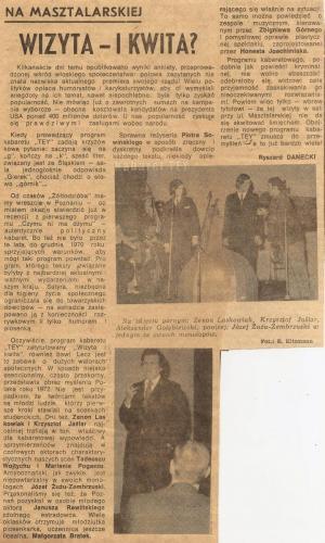 Program wizyta i kwita - Wycinek z gazety