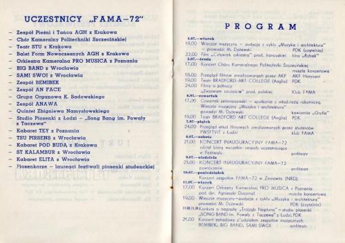 Program i uczestnicy FAMA rok 1972 - Kabaret TEY Wizyta i Kwita