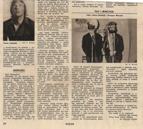 Program Wizyta i kwita - Wycinek z gazety - Janusz Rewiński, Zenon Laskowik